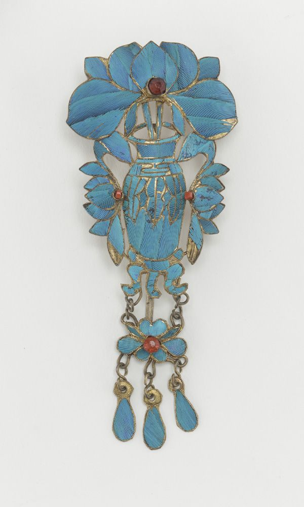 Hair Ornament, 19th-first half of 20th century, Qing dynasty (1644-1912), Kingfisher feather, gilt metal, red glass, H: 9.8 W: 4.5 D: 1.2 cm