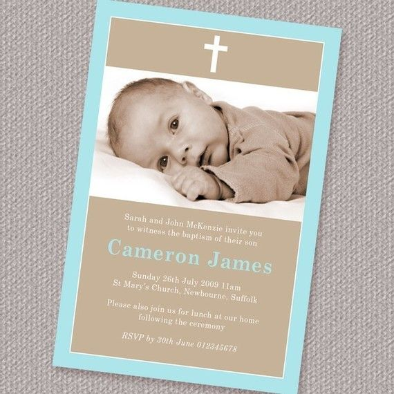 Simple Border Boy Baptism or Christening Invitation Photo Printable Personalized (Digital File)