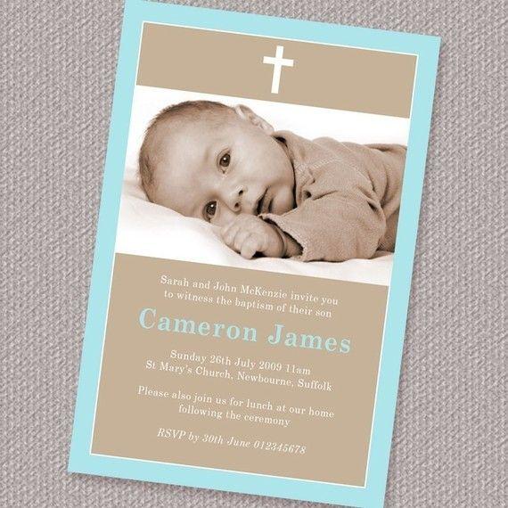 Simple Border Boy Baptism or Christening Invitation Photo Printable Personalized (Digital File)