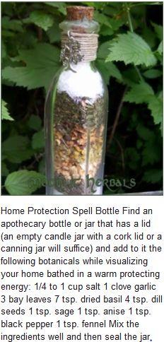 Home protection spell bottle.