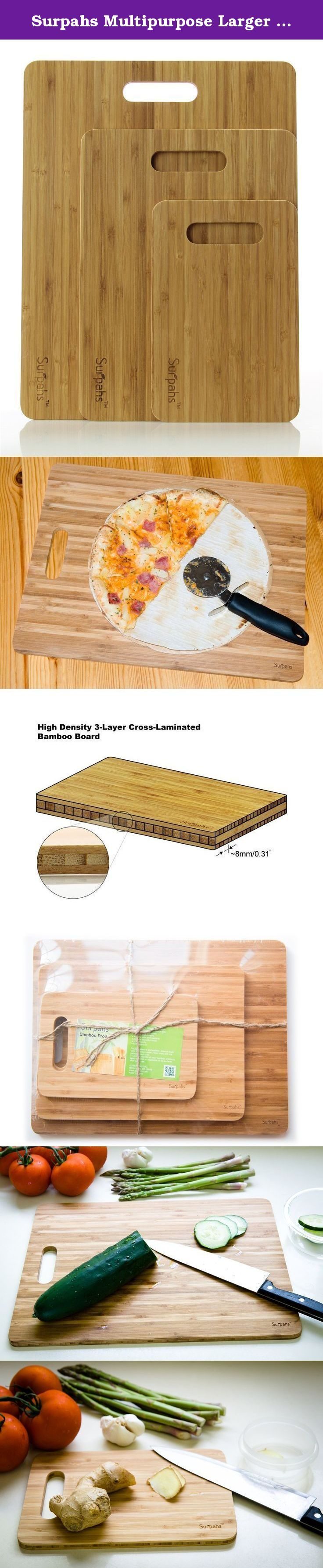 """Surpahs Multipurpose Larger Bamboo Cutting Board Set, 3-Ply Cross Laminated, 3 Pieces (15""""/12""""/9""""). Set of multipurpose 3 cutting boards in small, medium and large sizes, perfect kitchen accessories for cheese, bread, meat and vegetable cutting. It can also be used as pizza peel. Sizes Large: 15""""x 11.5"""" Medium: 12""""x 9"""" Small: 9""""x 6"""" NOTE: It's normal that some tiny bamboo """"hair"""" may appear on the surface after several washing and dry, because Surpahs bamboo cutting boards are made with…"""