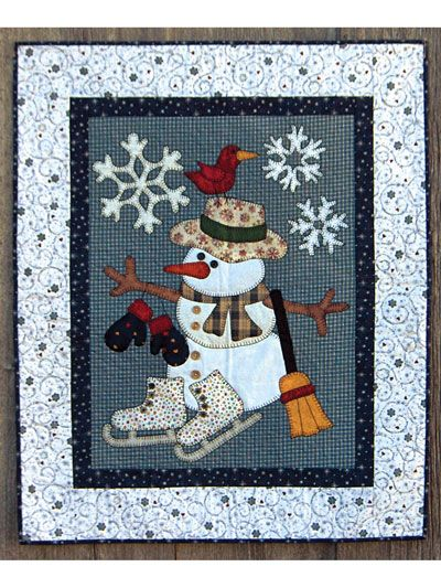 """An affable snowman to brighten your home this winter!   This frosty quilt with its friendly snowman and charming bird can be displayed all winter long to bring a bit of cheer into your home. The fusible applique makes it a fun and fast project that it easy to take along as your travel this holiday season. It includes full-size diagrams and easy-to-follow instructions. Finished size is 31"""" x 40 1/2""""."""