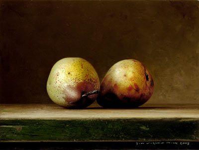 "Bernard Verkaaik - ""Two Pears"" 2005. Oil paint on panel. 19x24 cm."