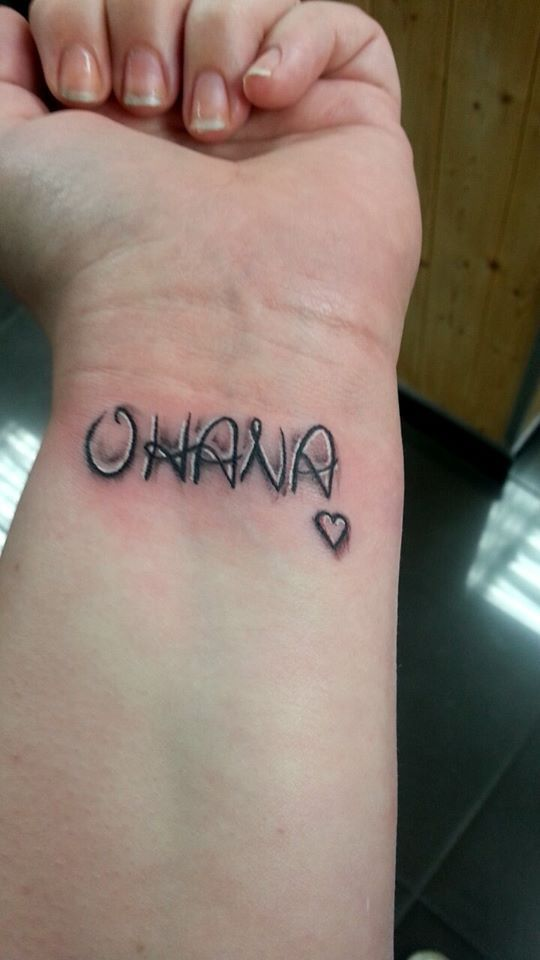 My first ever tattoo.  OHANA. - January 2014