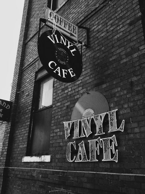 Black and White Vinyl Cafe, Filled With Coffee, Music, and Good Spirits