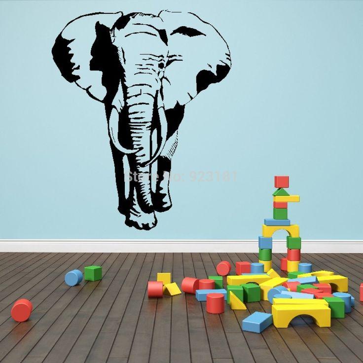Африканский Слон Ходьбе Сафари Животных Wall Art Наклейки Наклейка Главная DIY Украшения Настенная Съемный Номер Декор Стен Наклейки