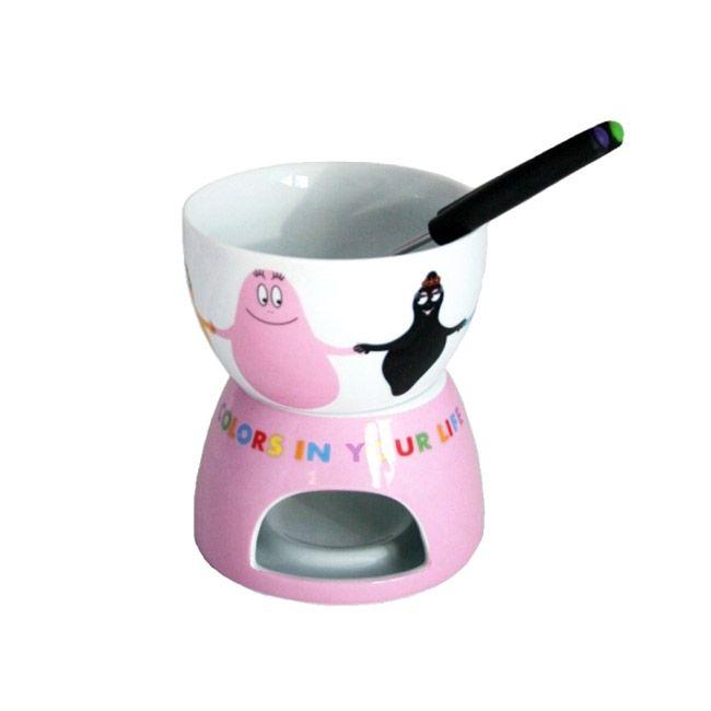 Joli appareil fondue chocolat sous licence officielle Barbapapa - Service à fondue pour amoureux - Fonctionne avec bougie chauffe plat - Cadeau pas cher  http://www.lamaisontendance.fr/catalogue/appareil-fondue-chocolat-barbapapa/