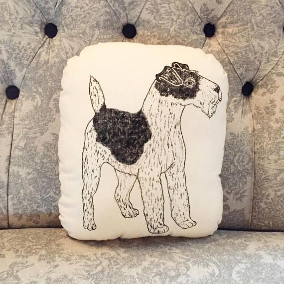 Terrier cushion Wire fox terrier plushie Handprinted