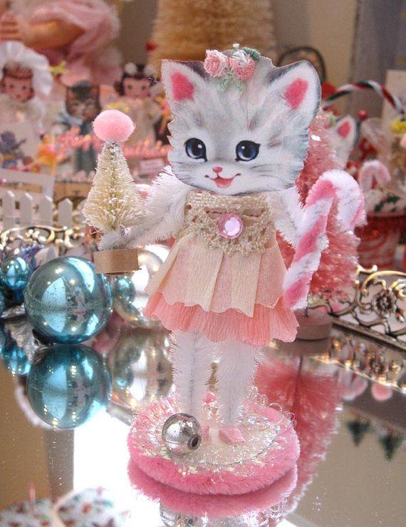 Vintage Inspired Christmas PiNk SuGaR SwEeT Christmas Kitty  Keepsake Paper Posy Doll