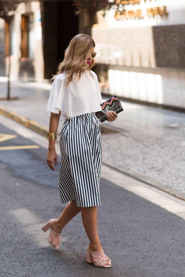 Striped skirt and statement shoes.