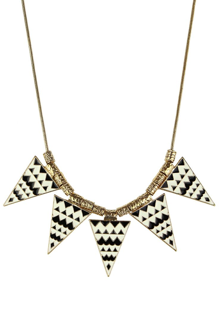 #Chicwish  Triangle Aztec Enamel Necklace - Accessory - Retro, Indie and Unique Fashion