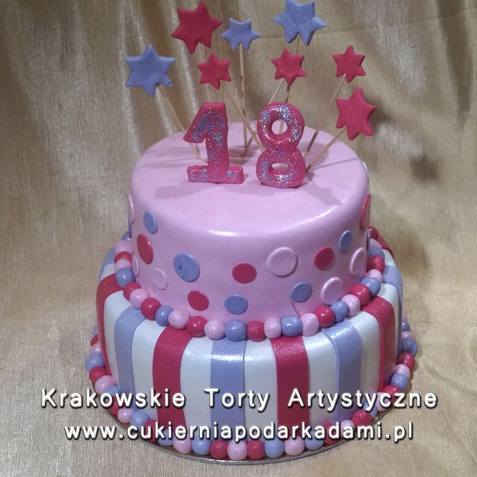 113. Tort na osiemnastkę z gwiazdkami. Cake for 18th birthday party with small stars.