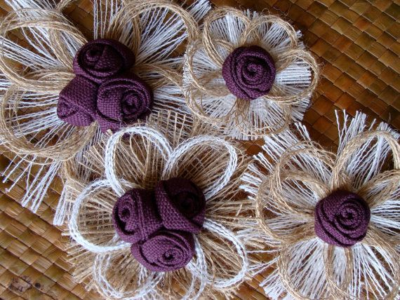 Plum Burlap Flower Wedding Cake Topper  SET OF 4  by resadavid, $28.95