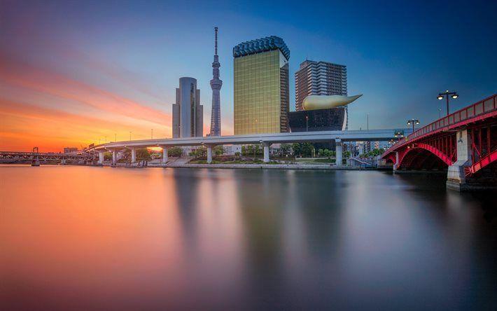 Lataa kuva Tokio, sunset, Tokyo Skytree, Japani, pilvenpiirtäjiä, silta