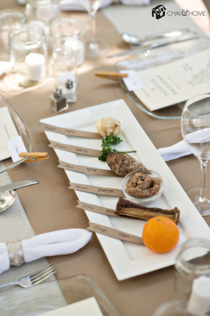 DIY Seder Plate made from a tray and printed labels