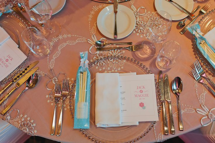 Tables set up - Silver beaded Charger Plate, Menu, Wedding Favours (Personalized Chopsticks) http://www.fusion-events.ca/