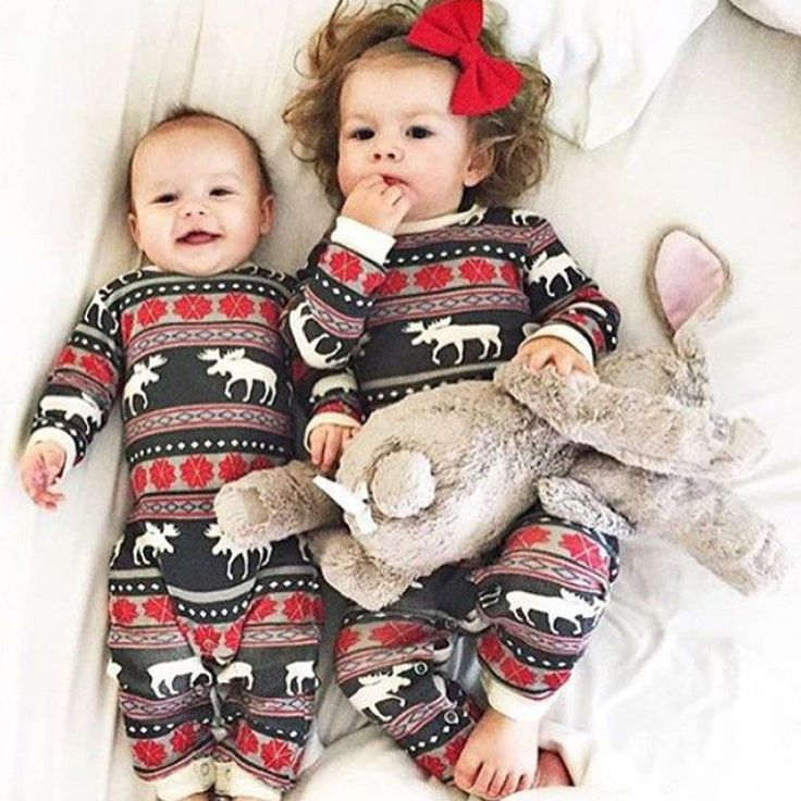 Christmas Family Pajamas Kids Baby Rompers Baby Boy