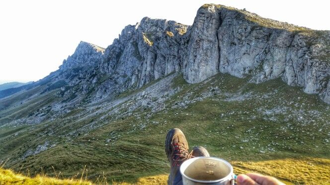 Coffee in the mountains. Bucegi, Romania.