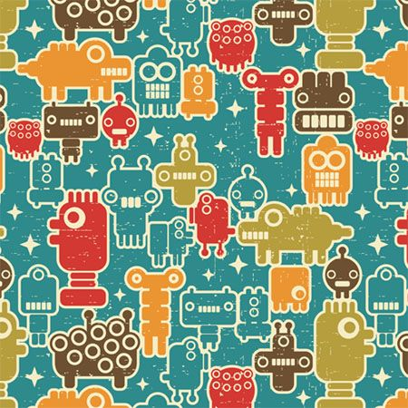 Robots on blue.