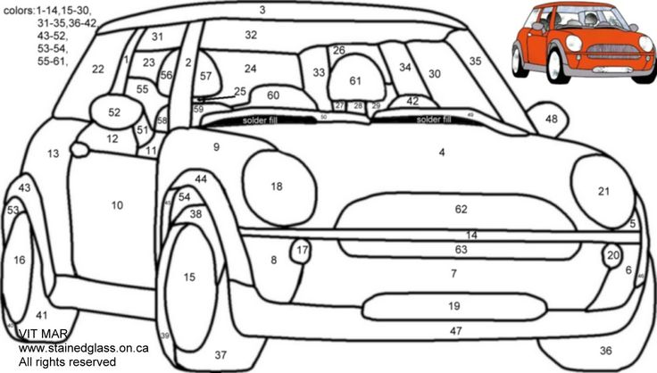 free stained glass pattern mini cooper  stained glass