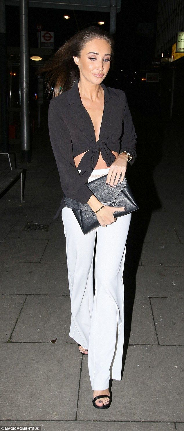 Stepping out: Megan McKenna, 24, was putting her past behind her when she partied at Faces nightclub in Essex on Saturday, cutting a chic figure in a simple yet sophisticated ensemble