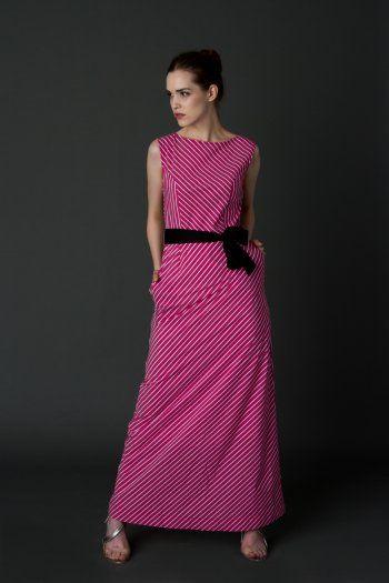 Raspberry maxi striped dress #cotton #silk #romantic #intuition