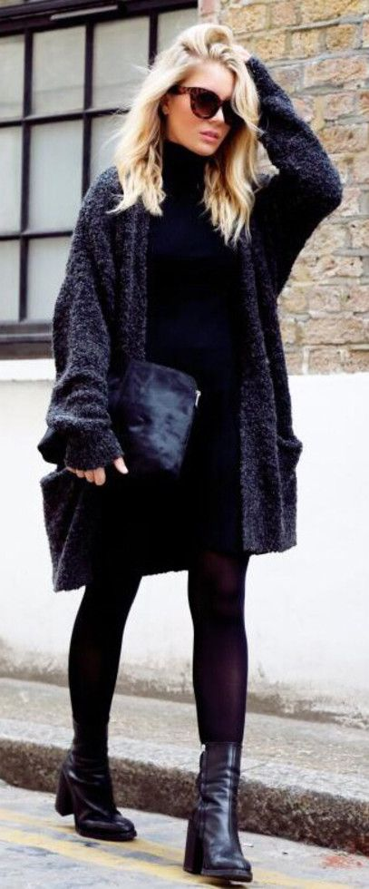 Isabella Thordsen is wearing an oversized fuzzy cardigan from Envii and the shoes, dress and clutch are from Asos...x