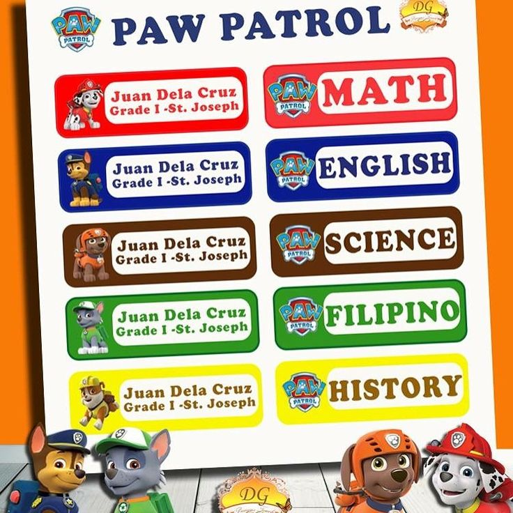 PAW PATROL STICKER LABELS :) BACK TO SCHOOL!! :)   Organize your child's school supplies such as books and notebooks with stickers! Put your child's name and school/ class section. Customize ANY CHARACTER and ANY COLOR! <3     Send us a message on facebook DG Precious Touch for your inquiries :)