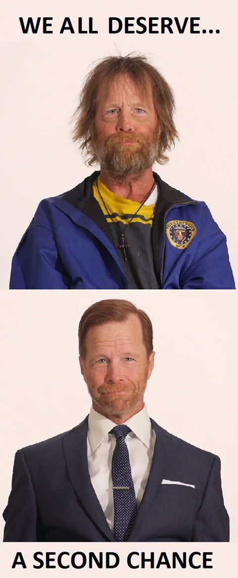 Homeless veteran transformation…got a job after this transformation and quit drinking. Unfortunately it didn't last, started drinking and list his job.  :(