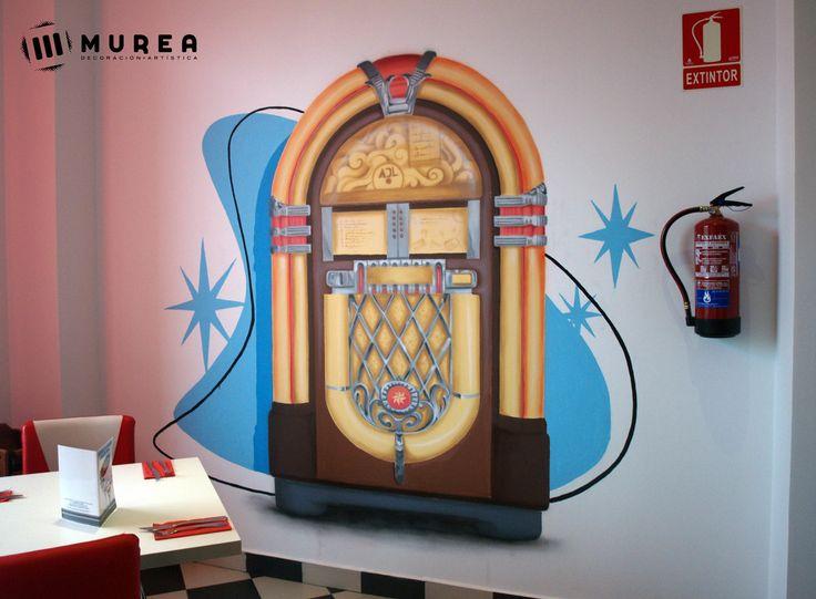 """Mural para restaurante """"Be bop a lula"""" más trabajos similares en: http://murea.es/decorativos-y-exteriores/"""