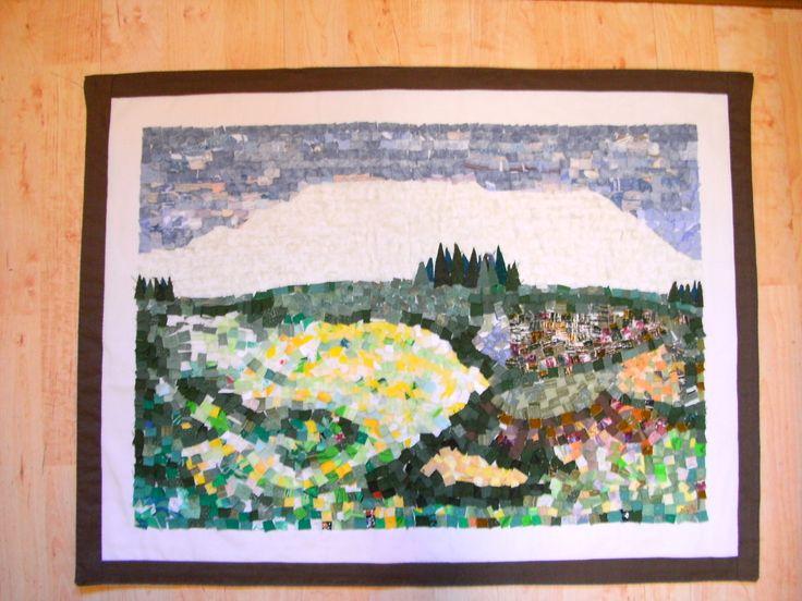 """""""Granslottet"""" 2010  71 x 54 cm. Applicerade små tygbitar med enkelt stygn."""
