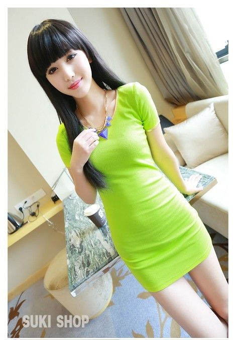 Neon Green Mini Dress - Keep everything neutral and let this sexy dress take center stage! www.kawaiikawaii.my #neon_green_mini_dress #neon_green_dress #neon_green_dresses #casual_dresses #womens_apparel