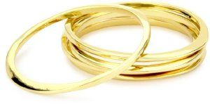"Jules Smith ""Surf"" 14k Gold-Plated Bangle Bracelet Set of 5... I really like these simple gold bangles... can be worn separately or as a set depending on how casual you want to dress..."
