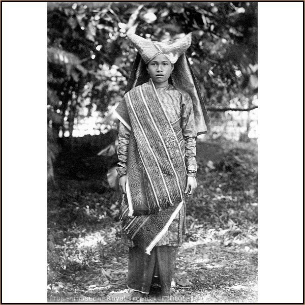 Indonesia, Sumatra. Memories from Minangkabau history. Their culture is matrilineal and patriarchal, with property and land passing down from mother to daughter, while religious and political affairs are the responsibility of men (although some women also play important roles in these areas. This custom is calledAdat perpatih in Malaysia and Lareh Bodi Caniago in Indonesia.