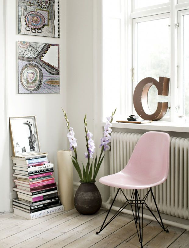 pink Eames chair, flowers, letter