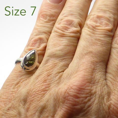 Moldavite Ring Faceted Teardrop | 925 Sterling Silver | Checkerboard cut face, raw below | US Size 7 | Moldau Valley | Tektite | Crystal Heart Australia since 1986