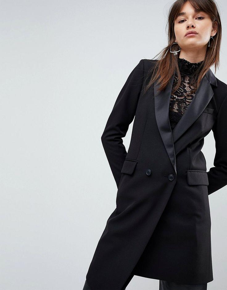 ASOS Premium Tailored Mansy Longline Asymmetric Tux Blazer - Black