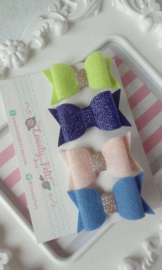 Handmade Wool Felt Bow Hair Clips Set Blush Lemon by LovelyFelt72