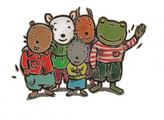 (2014-08) Nellie, Cezar, Mina, Leo og Fred vinker