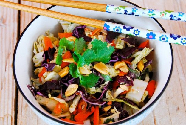 Nutty Napa Slaw: This is a slightly-spiced, peanutty crowd-pleaser. Perfect as a side with grilled meat or fish or as a light lunch with some chickpeas or cooked chicken tossed in. - See more at: http://www.simple-balance.ca/2015/01/nutty-napa-slaw/#sthash.yntBRE9A.dpuf