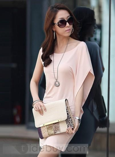 Boutique Graceful Irregular One Side Wide Sleeve Thin Sexy Dress