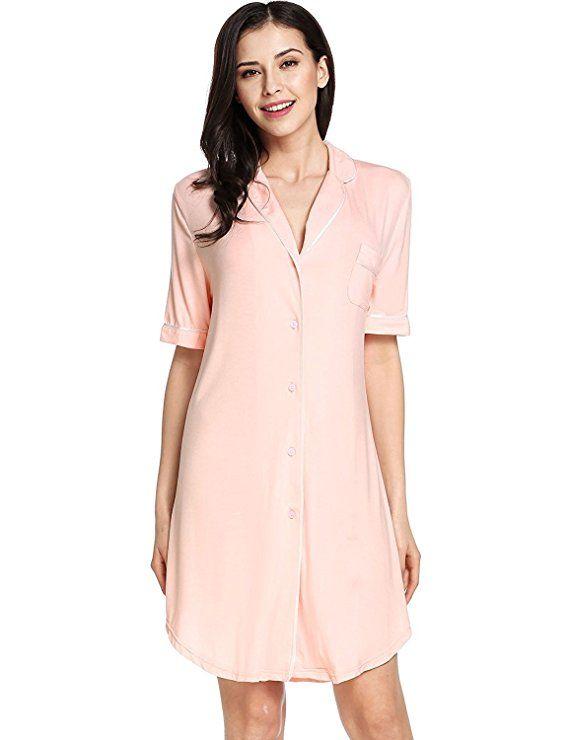 dfaeeece4e54ff Sweetnight Women Short Sleeve Nightgown Button Front Boyfriend Sleep Shirt  Pajamas Lounge Sleepwear |Luxury fashion|luxury fashion ma…
