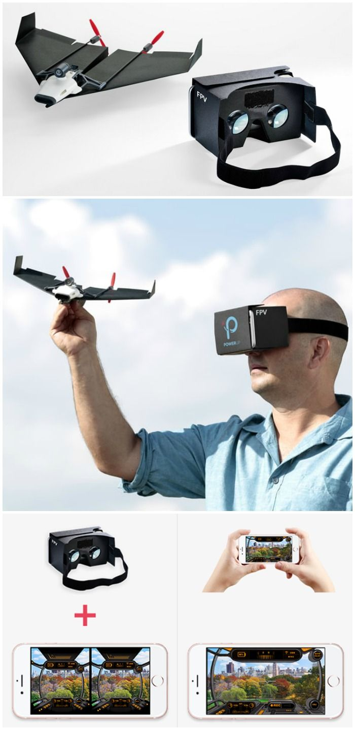 PowerUp FPV - Paper Airplane VR Drone. Experience first-person-view flight on a paper airplane with a LIVE streaming camera, via Google Cardboard.