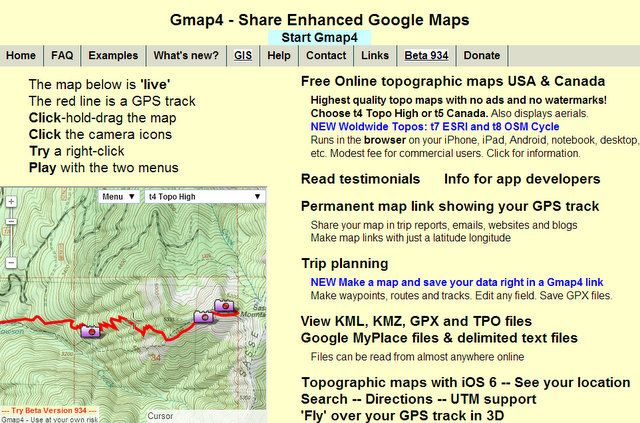 Gmap4: Great Online Topo Maps and Map Sharing for the USA and Canada