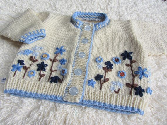 Hand Knitting Patterns For Babies : Hand Knitted Baby Cardigan (seen on etsy) Tejido Pinterest Stickning