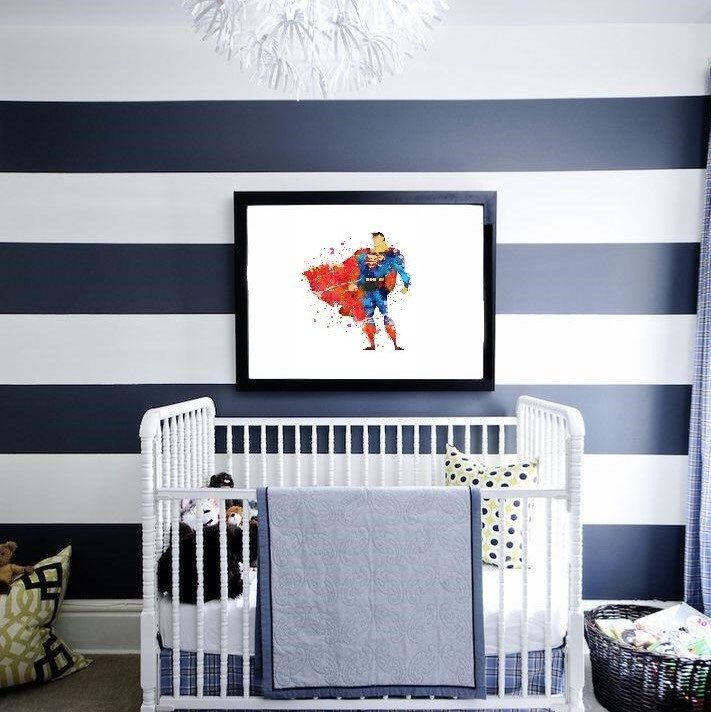 "Superman watercolor prints are ready to make your baby smile! :-)   ""You are much stronger than you think you are. Trust me."" Superman"