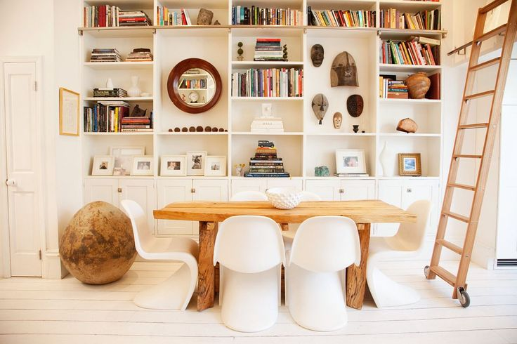 Lyndsay Caleo and Fitzhugh Karol - The SelbyChairs, Shelves, Modern Dining Room, Interiors Design, Bookcas, House, Small Spaces, White Interiors, Dining Tables