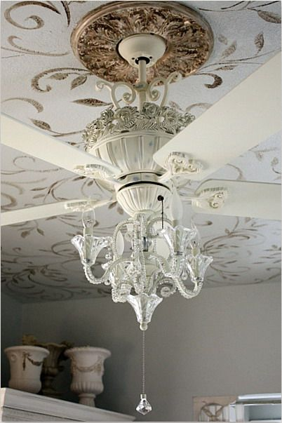 For the girls room! The Best of both worlds! luxurious chandelier ceiling fan.