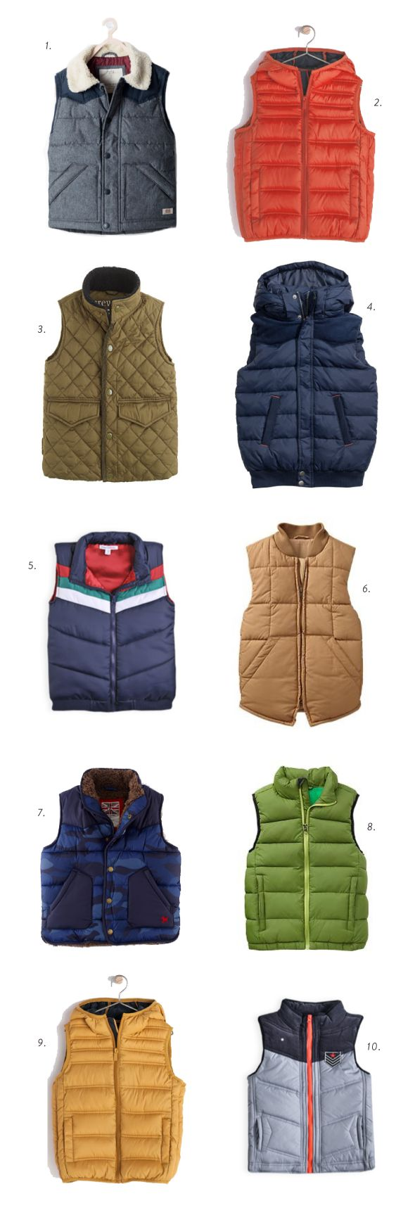back to school boys puffy vests
