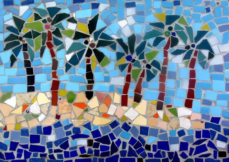 tropical mosaics | Palm Trees Mosaic Photograph by Lou Ann Bagnall - 7 Palm Trees Mosaic ...